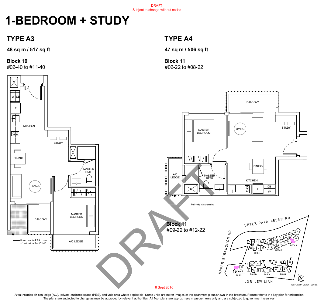 Forest Woods Floor Plan 1BR+Study Type A3 A4