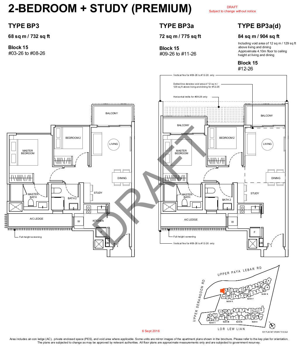 Forest Woods Floor Plan 2BR+Study Premium Type BP3